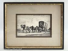 GRAVURE EAU FORTE, R. Lecourt, 1911, signée, dédicacée, chevaux, charrette
