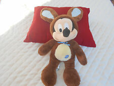 "Authentic Disney 15"" Mickey Mouse Plush In Brown Rabbit Suit"
