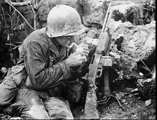 WW2 Photo WWII USGI Smoke Break Okinawa May 1945 BAR Rifle World War Two  / 1239