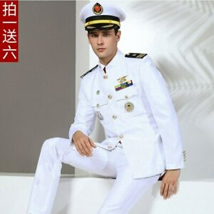 US Navy Military Uniform Military Soldiers Clothes Stand Collar Jacket Pants Hat