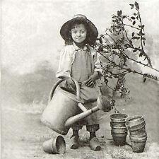 4x Paper Napkins for Decoupage Sagen Vintage Garden Girl
