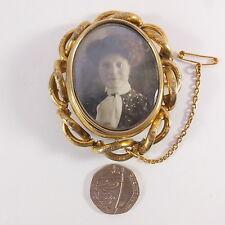 Antigua victoriana Antique Victorian grandes soltamos luto Cabello Foto Medallón Giratorio Broche
