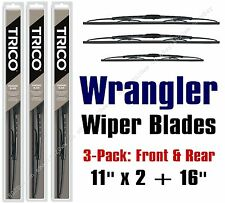 1988-1995 Jeep Wrangler Wiper Blades 3pk Front & Rear Wipers 30110x2/30160