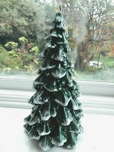 "Huge Heavy Tall Italian Designed Green Christmas Tree Wax Candle 11"""