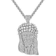 Sterling Silver Solitaire Jesus Pendant Full Iced Out Simulated Diamonds Chain