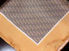 """SPECIAL! US NEW 14"""" 100% SILK POCKET SQUARE HAND ROLLED GOLD PRINT"""