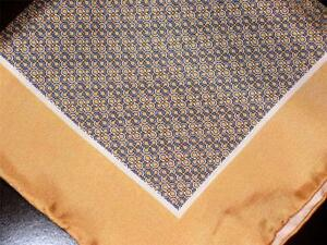 """SPECIAL! US NEW 14"""" 100% SILK POCKET SQUARE HAND ROLLED GOLD PRINT-O"""