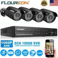 FLOUREON 8CH HDMI DVR 1080N CCTV Outdoor 3000TVL Home Security Camera System Kit