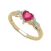 9CT GOLD SMALL HEART SHAPED PINK TOPAZ & DIAMOND ENGAGEMENT RING SIZE RANGE H-U