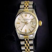 Vintage Rolex Date Ladies 2Tone 14K Yellow Gold Steel Watch Jubilee Silver 6517