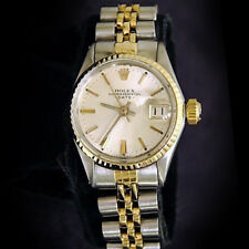 Vintage Rolex Date Ladies 2Tone 14K Yellow Gold Steel Watch Jubilee Silver 6517