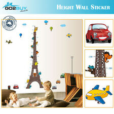 Wall Stickers Removable Eiffel Tower Car Height Kids Nursery Decal Growth Chart