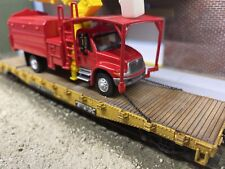 Weathered Custom Ho Scale Ttx Flatcar & Chained Down Tree Trimmer Truck Load
