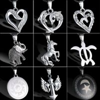 Men's Jewellery Horse Elephant Heart Stainless Steel Leather Pendant Necklace