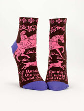 Women's Ankle Socks, Runnin' The World and Stuff, Blue Q, Cotton, One Size, Fun