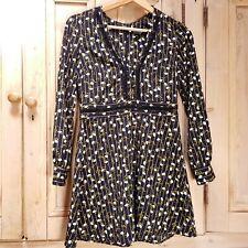 Top Shop Tea Dress 8 UK Petite Black Ditsy Floral Vintage 90s Crotchet Womens