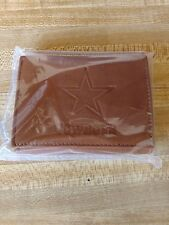 Brand New NFL Dallas Cowboys Tan Tri-Fold Leather Wallet Comes In Bulk Packaging