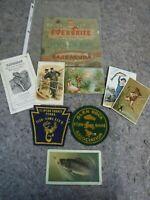 Vintage Lot of Ephemera & Trade Cards-Fishing-Everbrite Leader-Lyman Sight-Patch