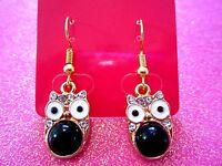 Black Owl Dangle Earrings