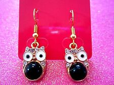 Black Owl Dangle Earrings