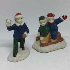 Lot Of 2 Christmas Village Accessories Children Playing Skiing People