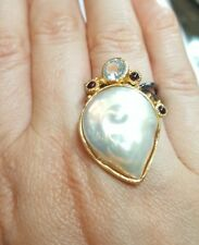Blue Topaz gemstone white baroque huge freshwater Pearl ring size 7 925 silver