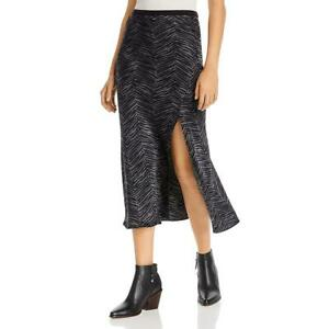 Anine Bing Womens Dolly Silk Animal Print Side Slit Midi Skirt BHFO 0948