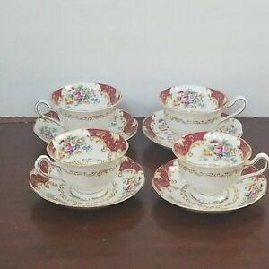 Royal Albert - Canterbury Bone China - Cup & Saucer Set of 4 Each Vintage 1950s