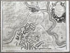 ZARAGOZA, Battle of SARAGOSSA,SPAIN, City plan,  Rapin/Tindal antique map 1745