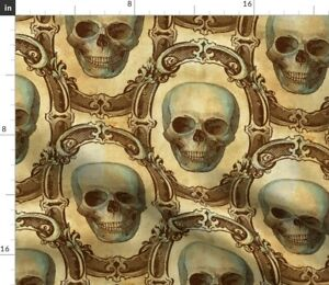 Victorian Skulls Halloween Antique Gothic Vintage Spoonflower Fabric by the Yard