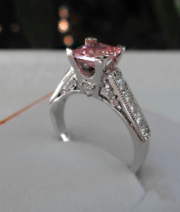 Princess Ring Stone Pink 6x6 Sterling Silver 925 Engagement Size Z1