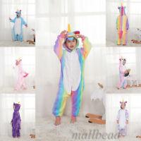 Kids Unisex Rainbow Unicorn Kigurumi Animal Cosplay Costume 1 Pajamas Sleepwear