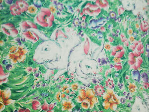 Spring Easter bunny rabbits in floral garden cotton tablecloth 50X51 rectangle