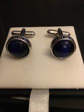 Greek Key with Blue Cabachon Glass Cufflink