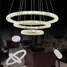 LED Kristall Ring Lüster Deckenlampe Hänge Leuchte Kronleuchter Pendellampe Neu
