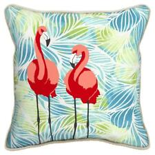 Allen + Roth, 16x16 Flamingo Print Outdoor Decorative Throw Pillow w Jute Trim