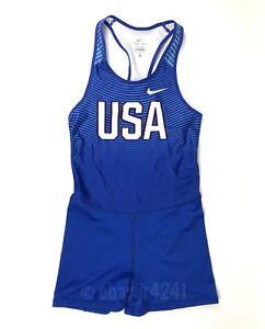 Nike Team USA Digital Race Day Track & Field Unitard Blue Women's M 835985