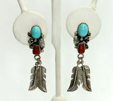 Old Pawn Sterling Silver Turquoise Red Coral Feather Drop Dangle Earrings