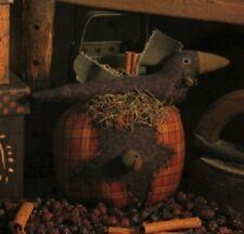 Pattern Primitive Pumpkin & Black Crow Ornie Doll Uncut Threadbare Prims Easy!