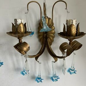 Matching Pair Of Antique French Wall Lights Sconces Double Arm Crystal Droplets