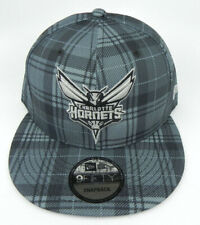 CHARLOTTE HORNETS NBA NEW ERA 9FIFTY SNAPBACK GRAY PLAID REG. CROWN HAT CAP NWT!