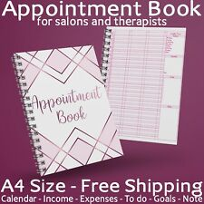 A4 Appointment Book Diary Beauty Salon Therapists 1 Year Nail Cashflow Calendar