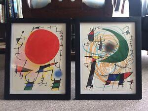 Joan Miro (1893-1993) Two Original Lithographs Red Sun Green Moon Abstract Art