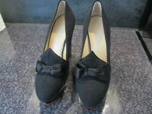 CHARLOTTE OLYMPIA ORIGINAL NEW BLACK HIGH WEDGE SHOES - SIZE 4 (37)