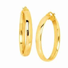 40 mm Flat Hoop Earrings in 18K Gold-Plated Bronze, Made in Italy
