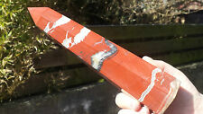 Natural S. African Red Jasper Hand Carved Crystal Obelisk Column Point 973g