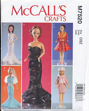 "MCCALLS SEWING PATTERN 7520 11½"" BARBIE FASHION DOLL CLOTHES, DRESSES COAT & HAT"