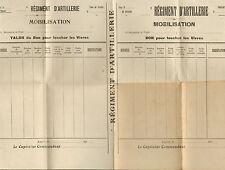 REGIMENT D' ARTILLERIE MOBILISATION FORMULAIRE BON POUR TOUCHER LES VIVRES 1922