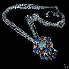 Sterling Silver Multi-gemstone Multi-chain Necklace