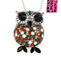 Betsey Johnson Crystal Rhinestone Cute Owl Pendant Chain Necklace/Brooch Pin